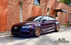 Audi S3 in Merlin-purple finish matching its brushed rose-gold finished 20 inch ZITO ZF01